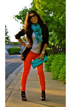 carrot orange H&M jeans - black Express blazer - black Aldo heels