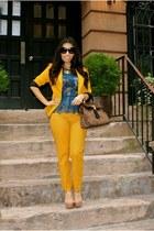 mustard Zara pants - mustard Zara blazer