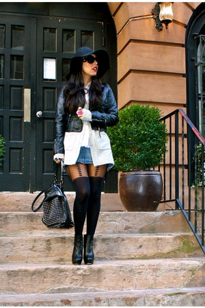 black H&M jacket - black Burberry bag - navy abercrombie and fitch skirt