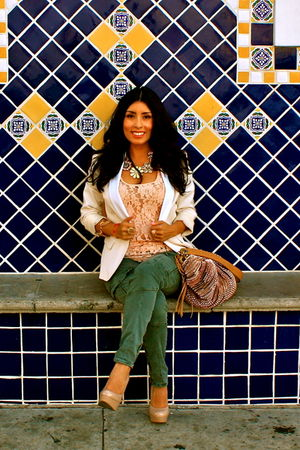 green JBrand pants - beige Steve Madden shoes - gold dvf - white H&M blazer - go