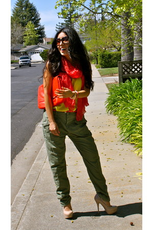 yellow Forever 21 shirt - red Zara bag - beige Steve Madden heels - olive green