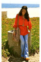 blue Miss Sixty jeans - orange Nordstrom blouse - beige Jeffrey Campbell shoes -