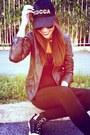 Guess-shoes-leather-jacket-bershka-jacket-viscosa-forever-21-leggings