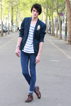 navy H&amp;M blazer - navy Cheap Monday pants - ivory H&amp;M t-shirt