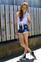 black warehouse shoes - navy supre shorts - white garage top