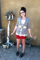 striped Urban Outfitters cardigan - lace American Rag shirt - red PacSun skirt