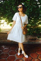 white Aldo shoes - white francescas dress - bronze saddle bag Ebay bag