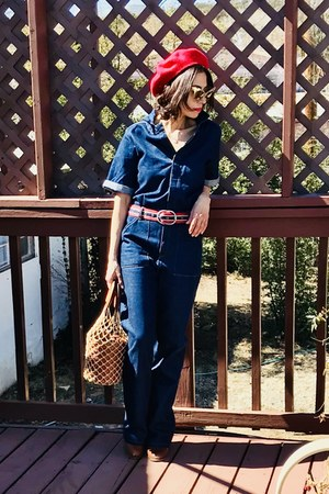 denim Mango jumper - Aldo boots - Ebay hat - Staud bag - free people belt