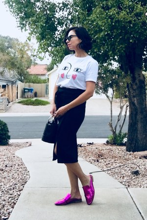 Topshop t-shirt - Le specs sunglasses - free people loafers - Leroute skirt