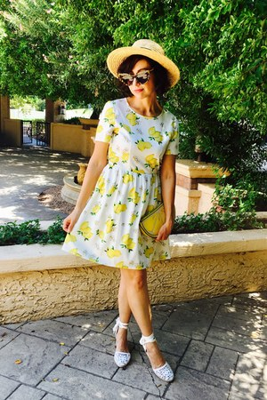 white Aldo shoes - white miss patina dress - yellow ali express purse