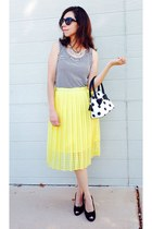 striped shirt - black wedges shoes - polka dot purse - yellow pleated midi skirt