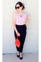 lips thrifted necklace - lips Ebay shirt - purse - paperbag Anthropologie pants