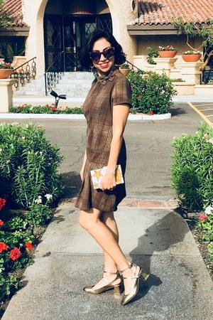 gold Rebecca Minkoff heels - plaid thrifted vintage dress - asos purse