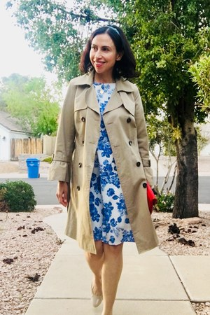 floral Brooks Brothers dress - Le Route coat - Francescas bag