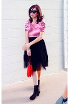 black tulle skirt - black dansko boots - red stripes thrifted shirt - red purse