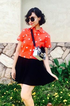 white furla purse - red polka dot asos shirt - black H&M skirt