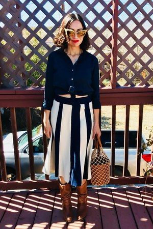 JCrew skirt - Aldo boots - ann taylor shirt - Devita sunglasses