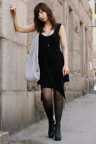 black odly cut dress Nakkna dress - black wedges Rick Owens shoes
