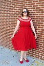 Red-alika-bettie-page-dress-ruby-red-suede-bow-primark-flats