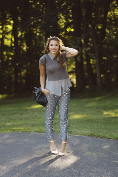 Zara bag - brandy melville t-shirt - H&M blouse - polka dots JCrew pants