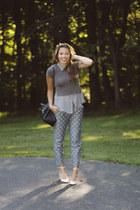 Zara bag - brandy melville t-shirt - H&M blouse - polka dots JCrew pants