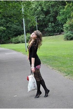 romwe tights - H&M bag - Zara skirt - Tally Weijl flats