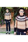 Black-nike-shoes-navy-fobo-jeans-jeans-brown-missoni-sweater