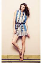 blue Love 21 vest - beige Forever 21 scarf - gray Love 21 skirt - white Love 21