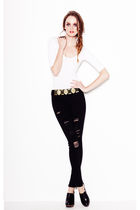 white Forever 21 top - black Forever 21 jeans - black Forever 21 shoes - gold Fo