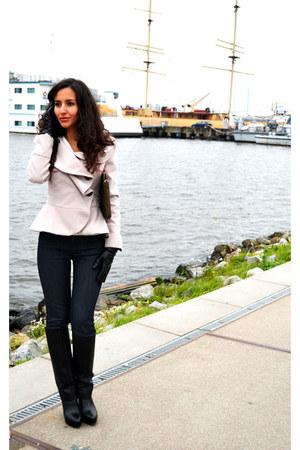 peplum new look coat - foldover Zara boots - Hugo Boss jeans