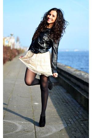 lace Bershka skirt - leather Zara jacket - studded Sibin wedges