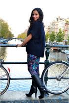 floral print Nelly pants - Zara boots - Topshop vest