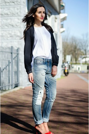 boyfriend 8mm jeans - bomber we jacket