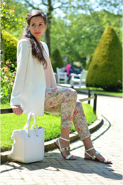 white Mango blazer - white Zara bag - white Zara sandals