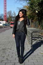 high waisted Vanilia jeans - metal pointed Nelly boots - Zara sweater