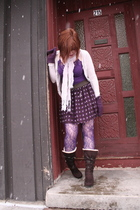 purple Charlotte Russe skirt - brown unknown brand boots - purple Old Navy shirt