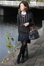 Gray-striped-mango-sweater-white-zara-shirt-navy-striped-zara-skirt