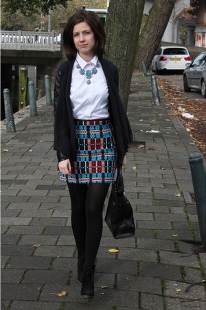 gray Zara cardigan - blue Zara skirt - blue Zara necklace