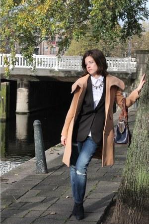 Zara jeans - Zara shirt - gray Mango vest