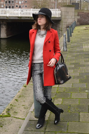 red Zara coat - black H&M hat - silver Zara sweater - Zara necklace