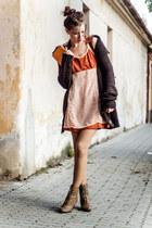 carrot orange diy Foxy Green dress - dark brown second hand cardigan