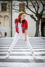 White-secondhand-jeans-red-secondhand-shirt-white-secondhand-top