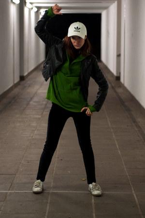 black second hand jacket - white Adidas hat - dark green second hand sweatshirt