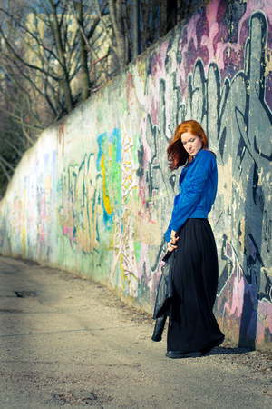 blue second hand sweatshirt - black second hand jacket - black second hand skirt