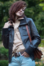 Dark-brown-leather-secondhand-jacket-brick-red-leather-secondhand-bag