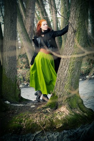 chartreuse Foxy Green skirt - black humanic boots - black second hand coat