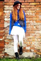black H&M hat - blue Wildfox sweater - white Foxy Green remake skirt