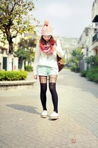 light pink hat - ivory shoes - heather gray tights - light blue shorts