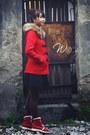 Red-coat-dark-gray-tights-black-skirt-maroon-sneakers