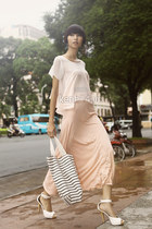 neutral skirt - black striped bag - white heels - chiffon blouse